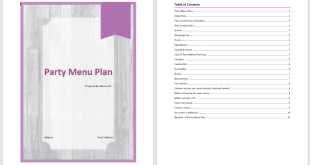 Party Menu Plan Template 1