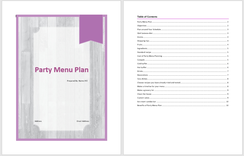 party menu plan template  u2013 word templates for free download
