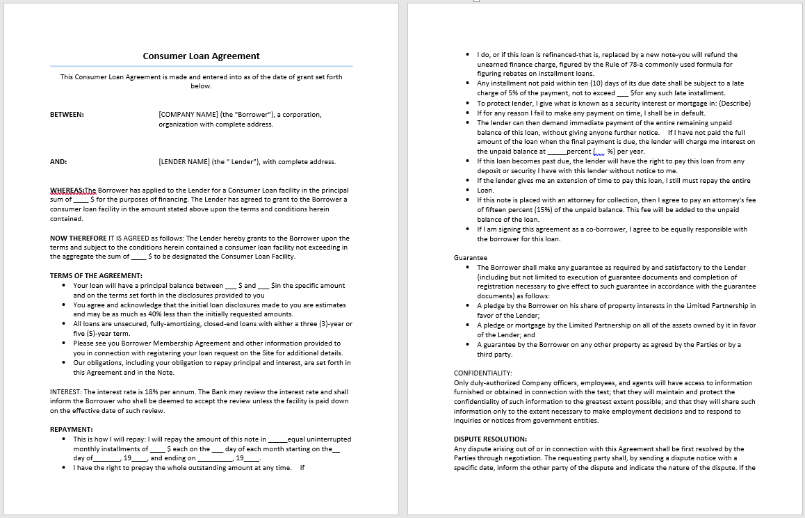 Consumer Loan Agreement Template Microsoft Word Templates