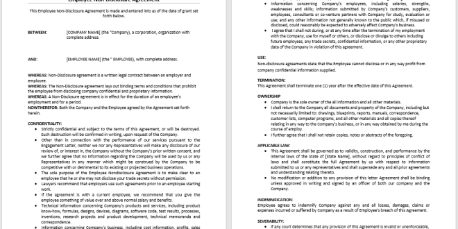 Employee Non Disclosure Agreement Template Microsoft Word Templates