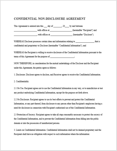 Non Disclosure Agreement Template 01