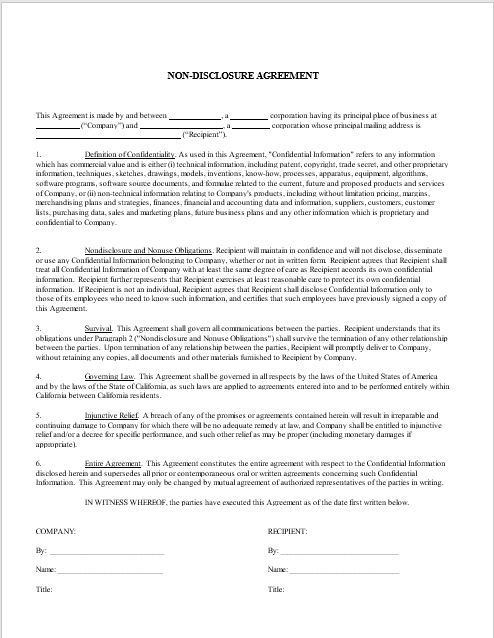 Non Disclosure Agreement Template 02