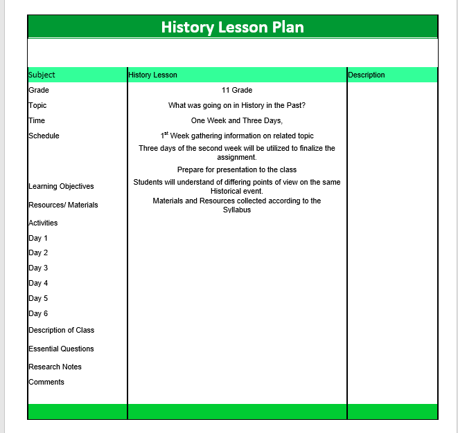 History Lesson Plan Template Microsoft Word Templates