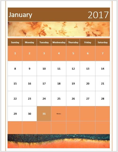 Jan 2017 Calendar Rust Template