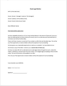 Legal Action Notice Template