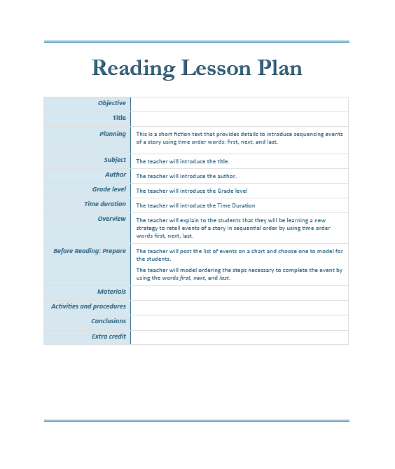 Reading Lesson Plan Template Microsoft Word Templates