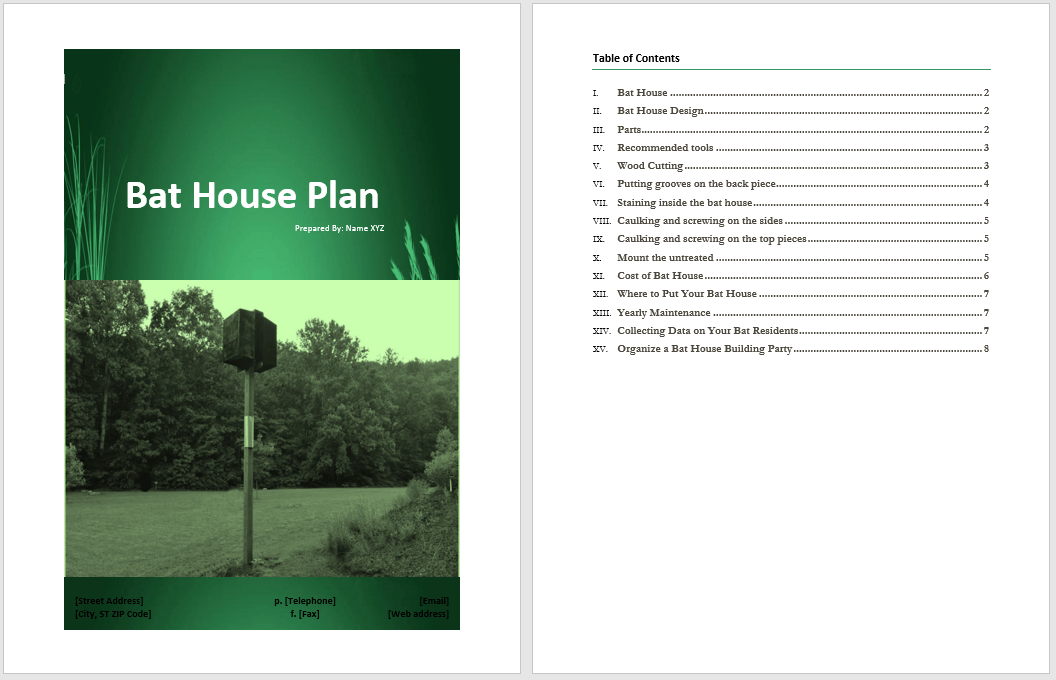 bat house plan template  u2013 word templates for free download