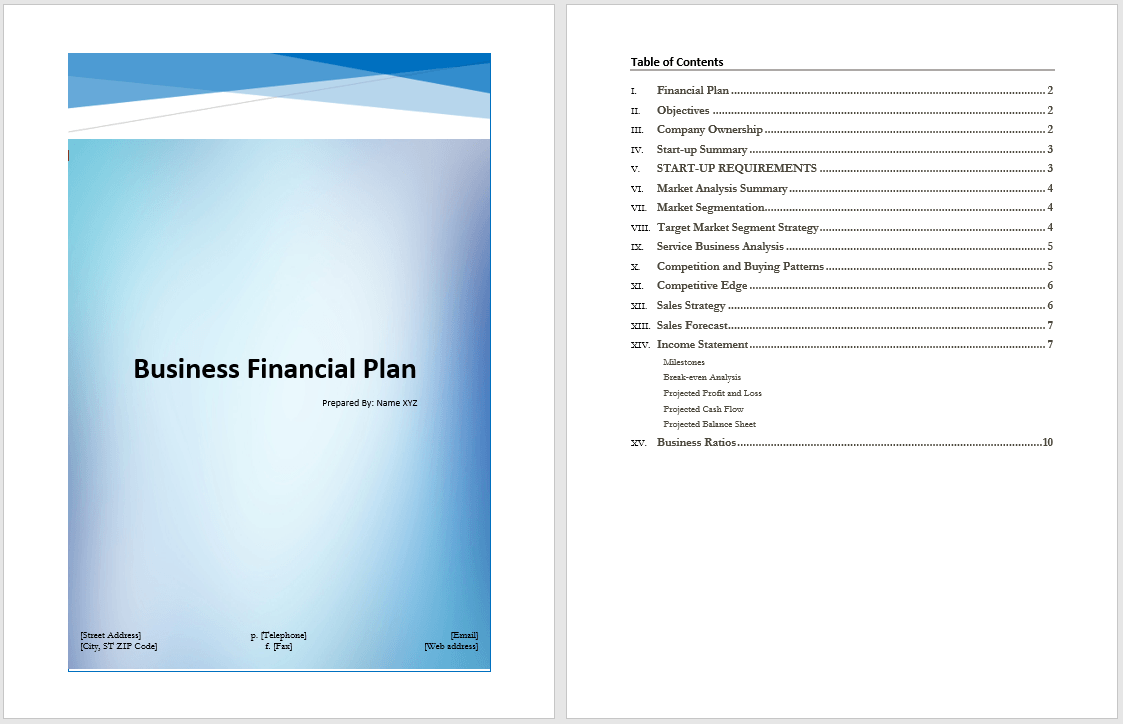 business financial plan template � microsoft word templates