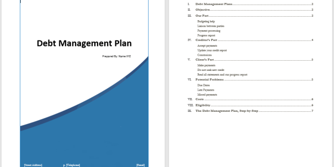 debt management plan template  u2013 word templates for free download