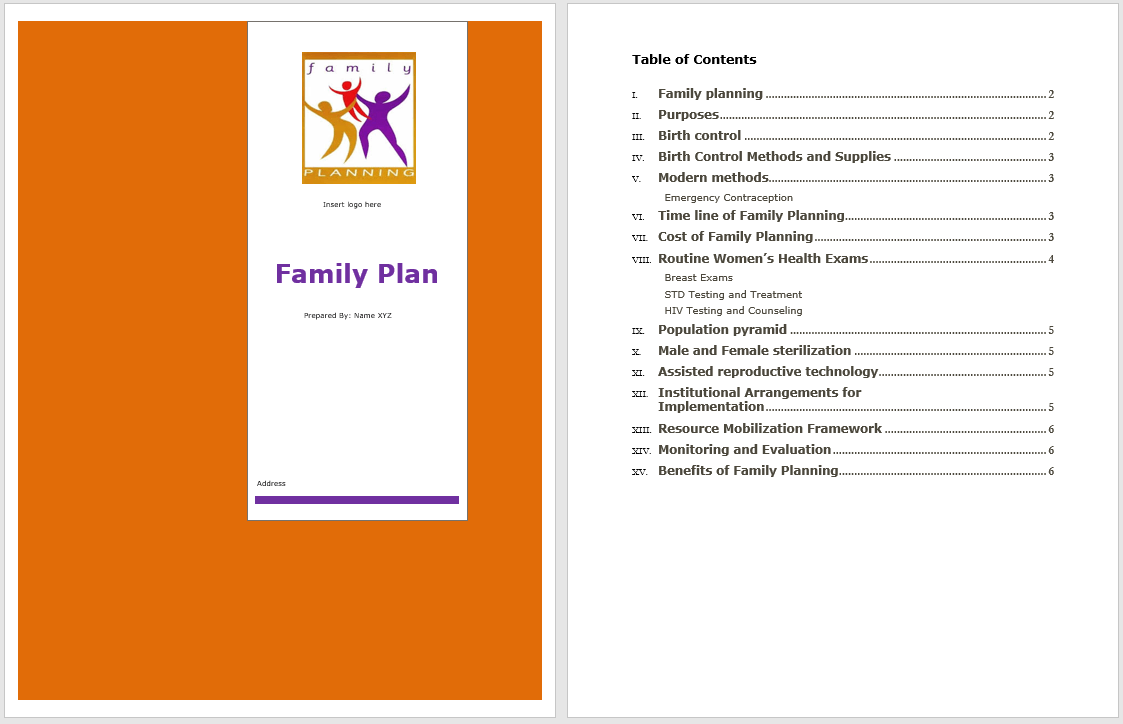 family plan template  u2013 word templates for free download