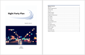 Night Party Plan Template