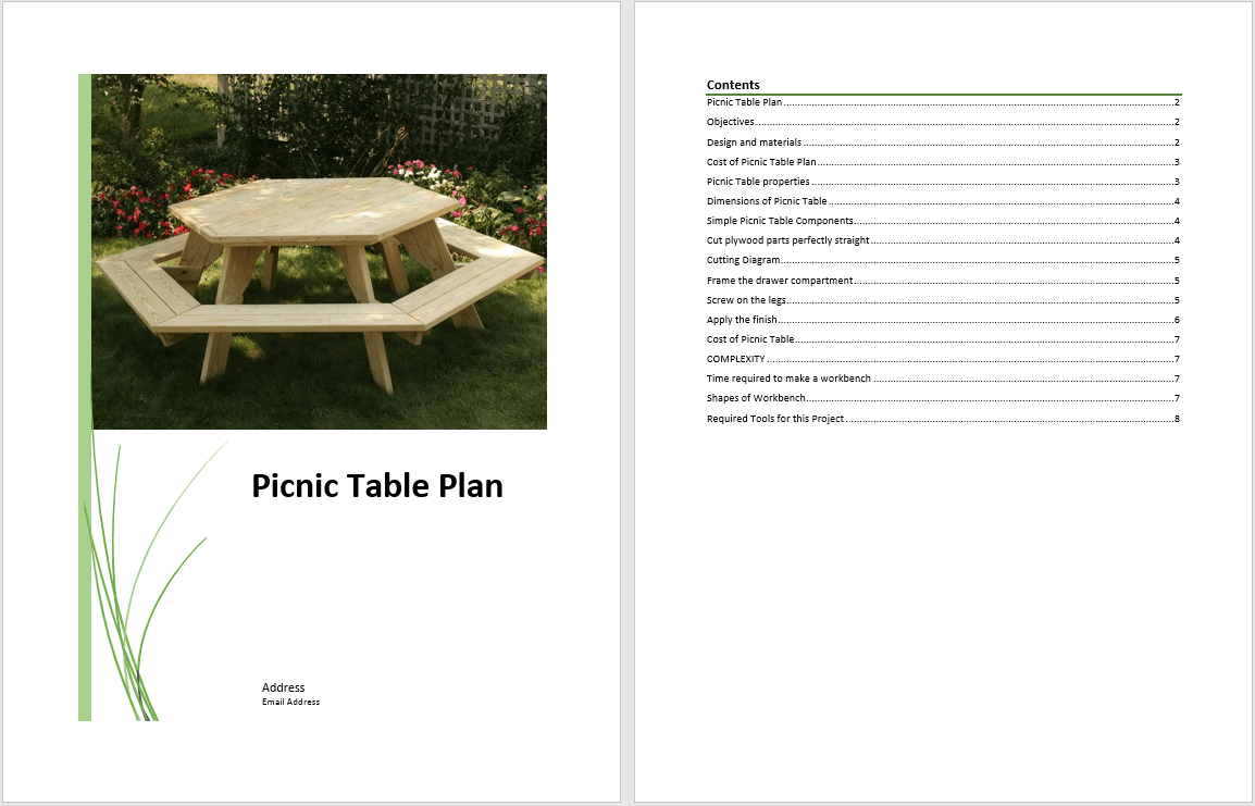 picnic table plan template  u2013 word templates for free download