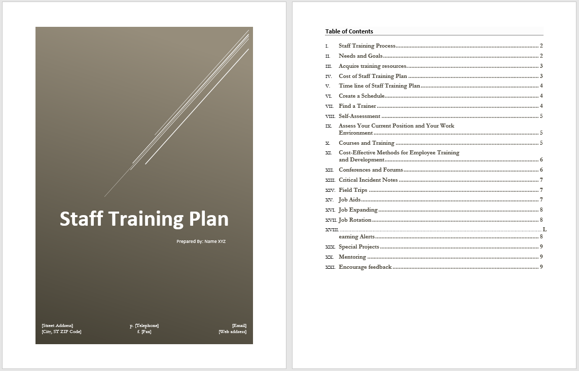 staff training plan template microsoft word templates. Black Bedroom Furniture Sets. Home Design Ideas