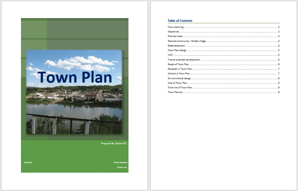 town plan template  u2013 word templates for free download