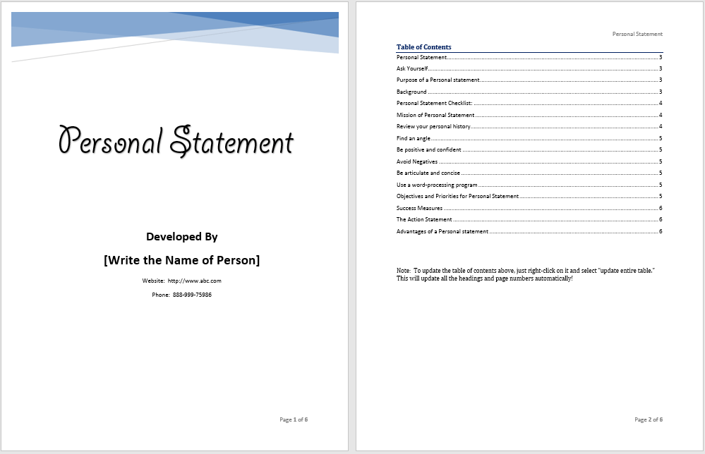 personal statement template  u2013 word templates for free download
