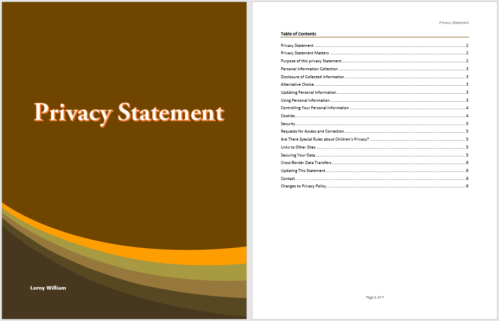 privacy statement template  u2013 word templates for free download