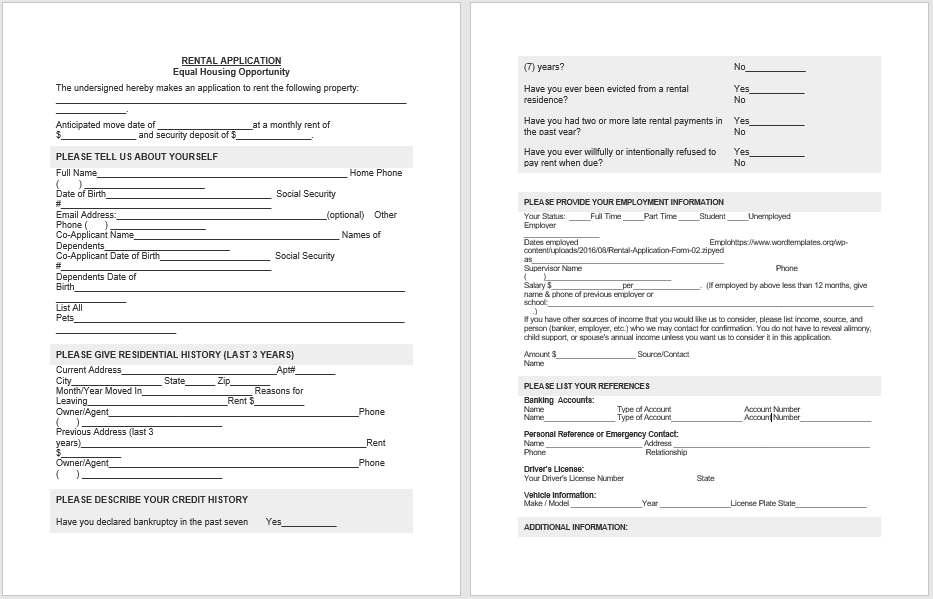Rental Application Form 03