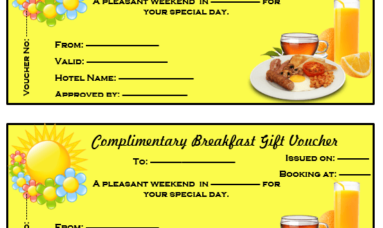 Complimentary Breakfast Gift Voucher Template – Microsoft Word Templates
