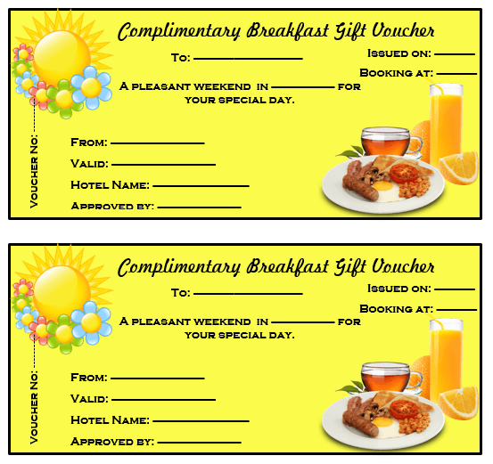 Perfect Complimentary Breakfast Gift Voucher Template On Meal Voucher Template