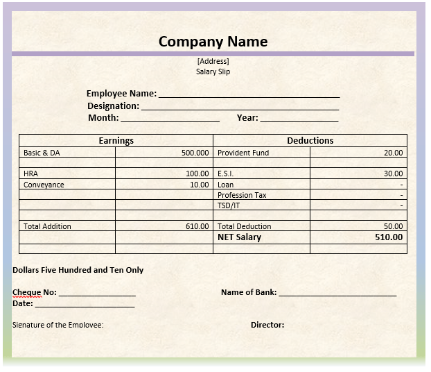 Salary Slip Template 2  Payslip Template Word Document