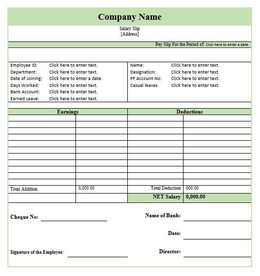 Salary Slip Template 8 Throughout Employee Salary Slip Sample