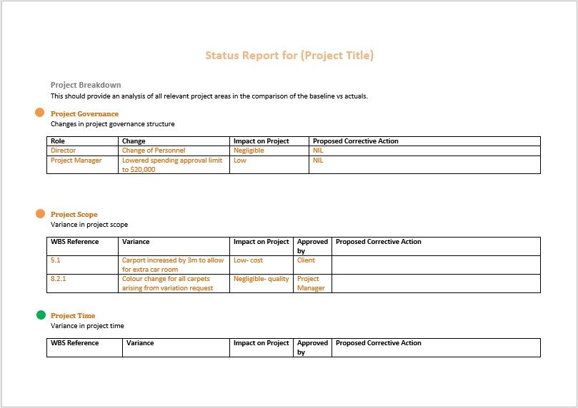 project status report template 02