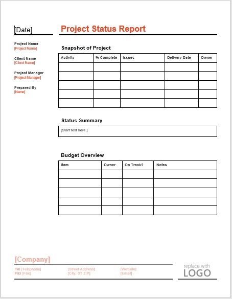 project status report template 04