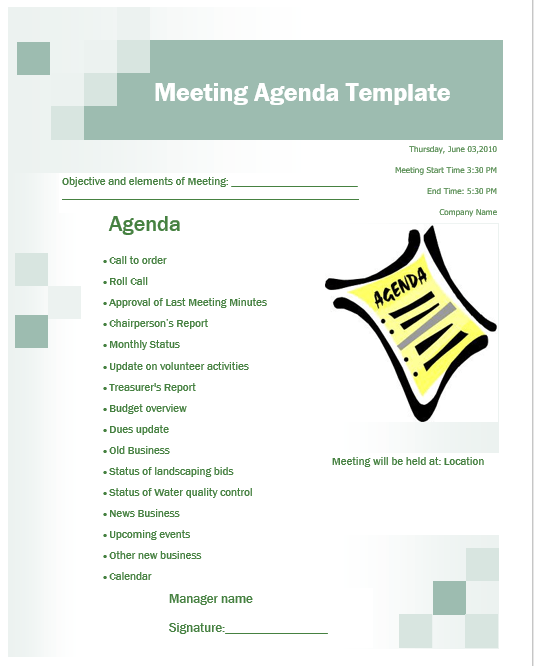 12 free business meeting agenda templates