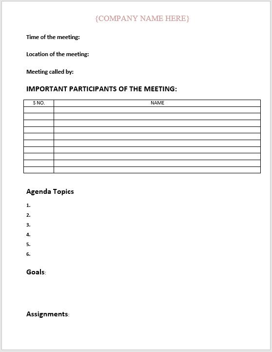 Meeting Agenda Template (Business)