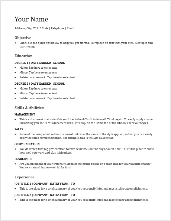 basic resume template 03  u2013 word templates for free download