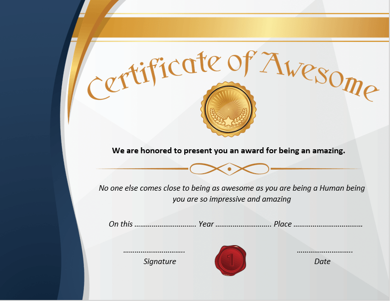 Certificate of Awesomeness Template 04
