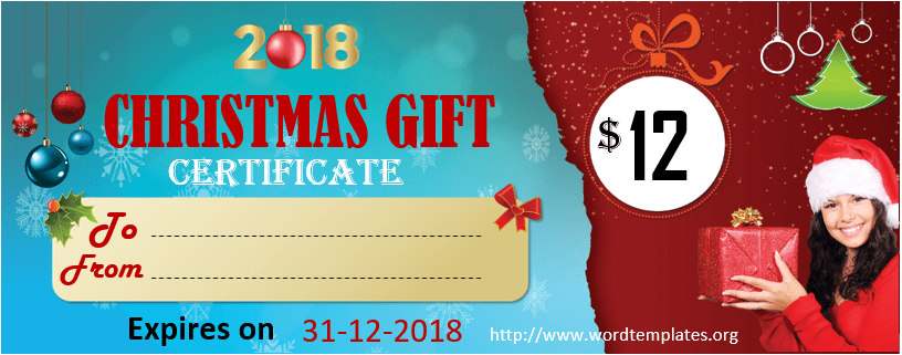 Christmas Gift Certificate Template 2018 - 01