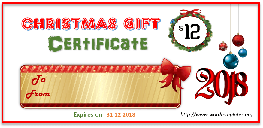 Christmas Gift Certificate Template 2018 - 06