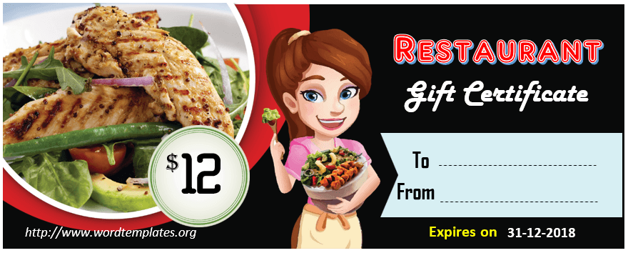 Restaurant Gift Certificate Template 2018 - 07