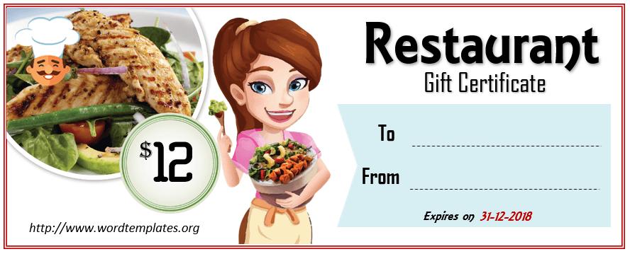 Restaurant Gift Certificate Template 2018 - 08