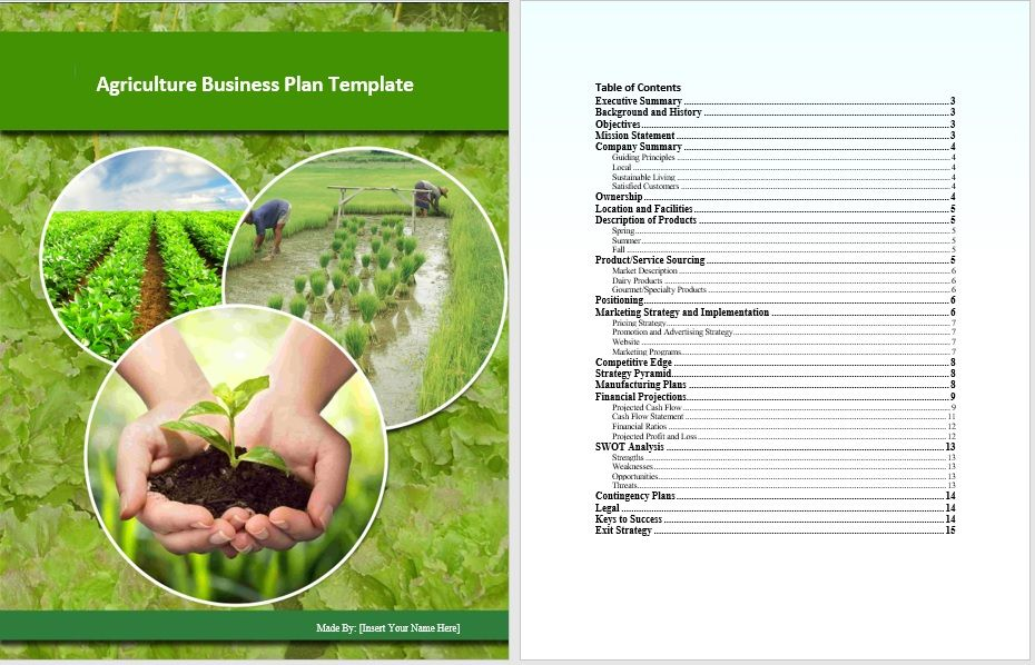 Agriculture Business Plan Template Word Templates For Free