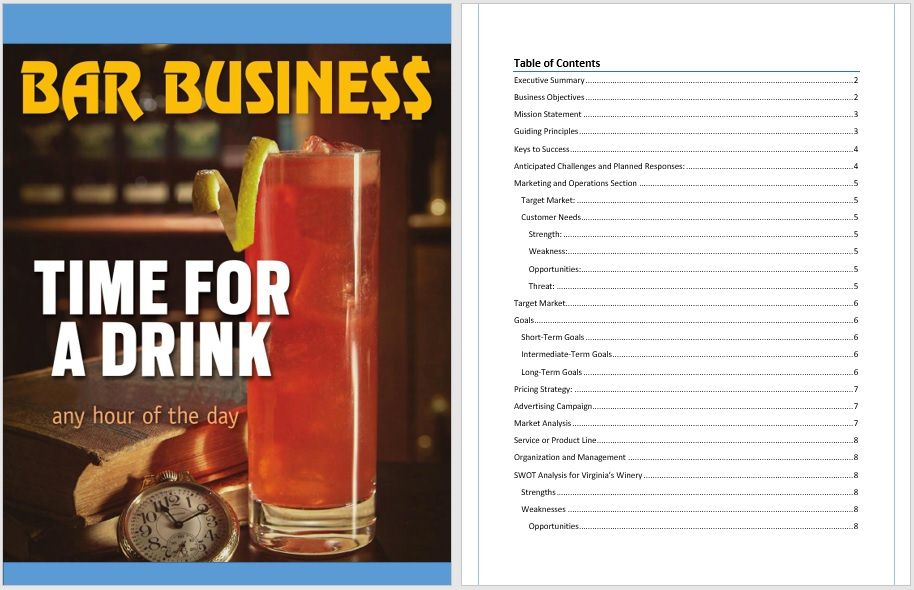 Drinks Bar Business Plan Template