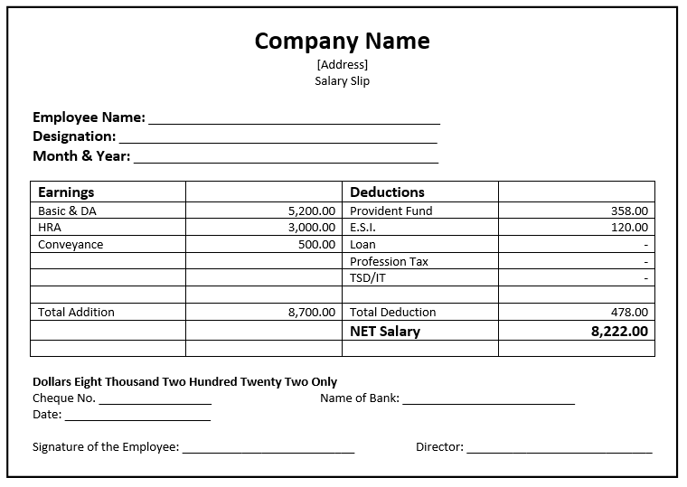 32 Salary Slip Format & Templates - Word Templates for ...