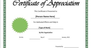 Appreciation Certificate Template 01