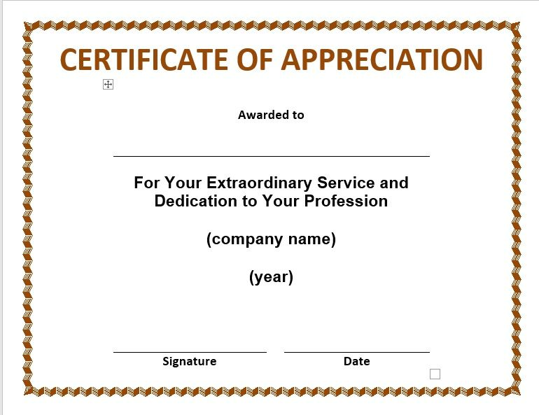 Certificate of Appreciation Template 07