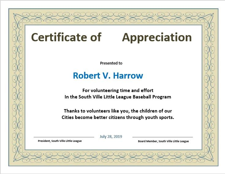 Certificate of Appreciation Template 10