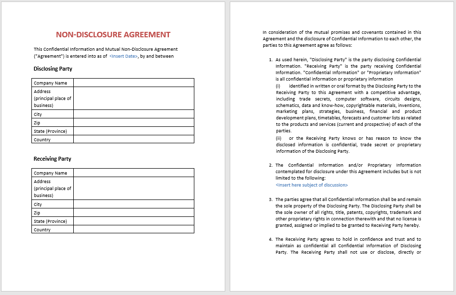 Non Disclosure Agreement Template 04
