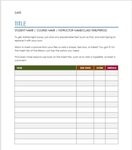 Project Task Assignment Template 01