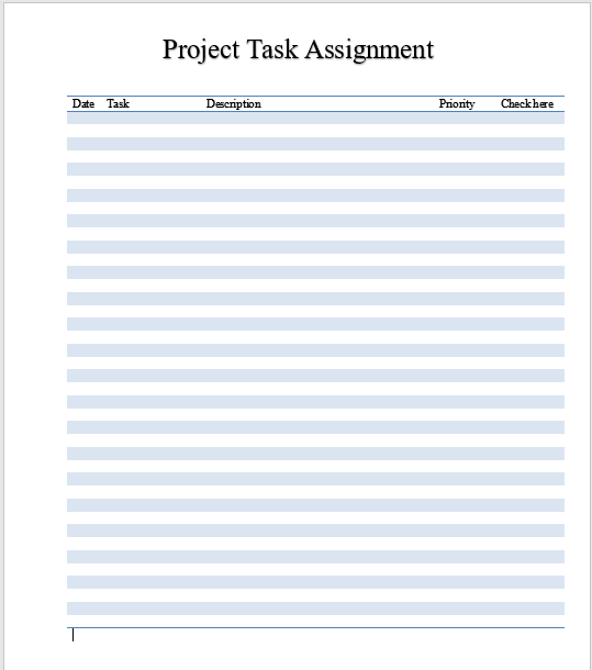Project Task Assignment Template 02