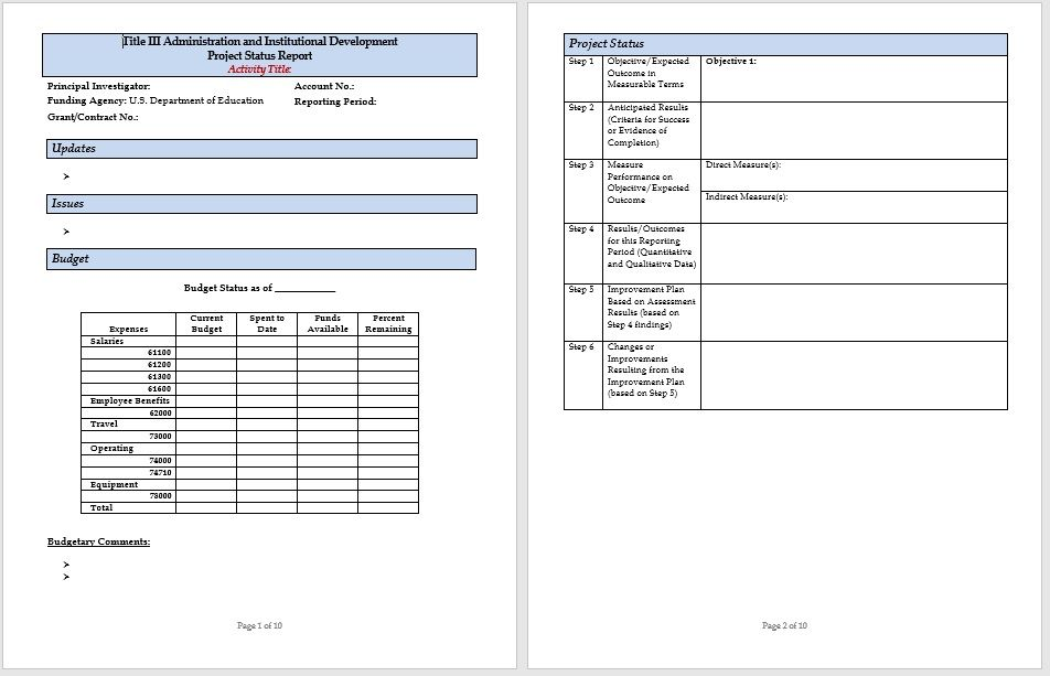 project status report template 14