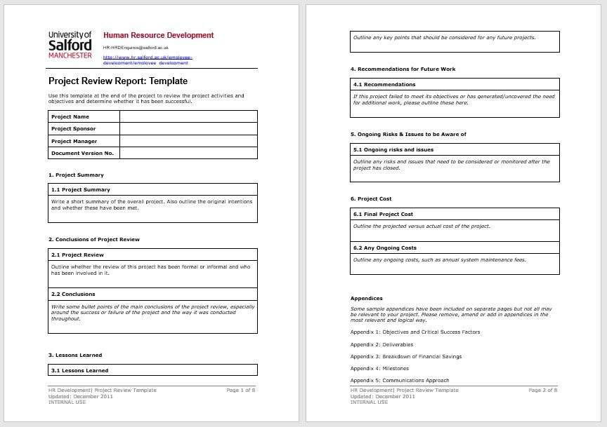project status report template 15