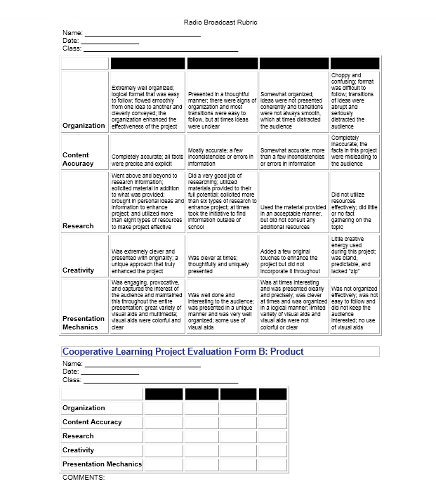 Grading Rubric Template 14