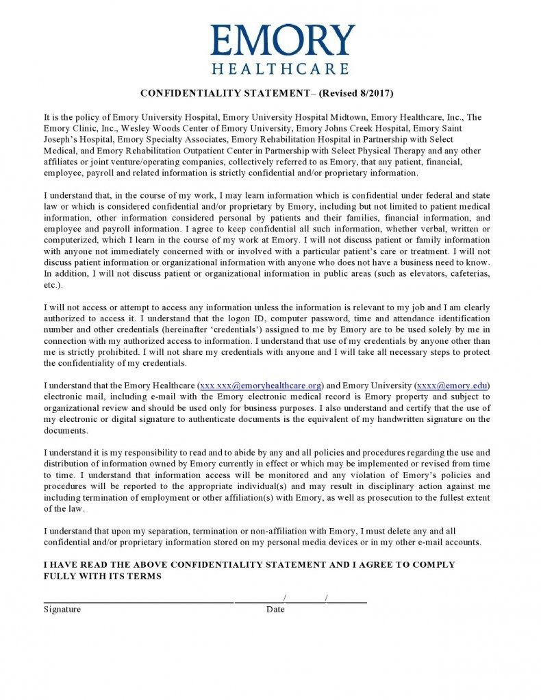 confidentiality statement template 01
