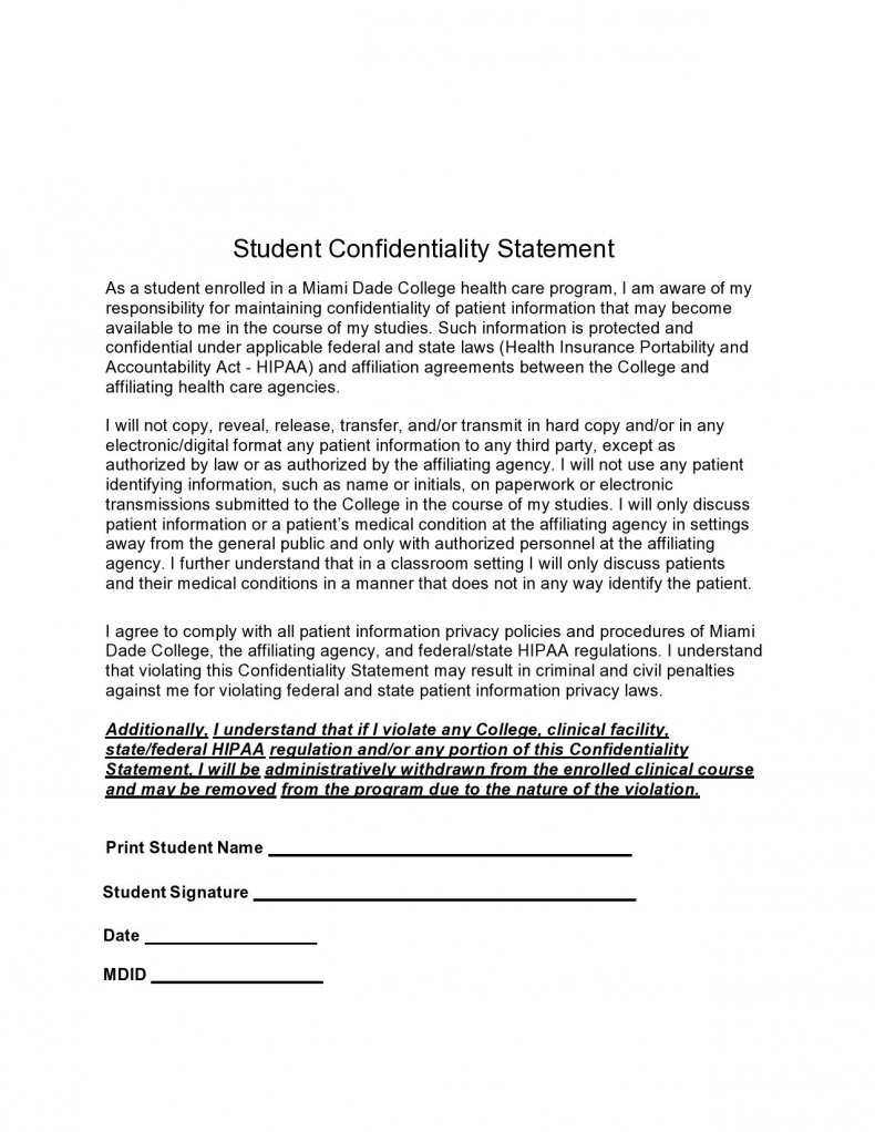 confidentiality statement template 05