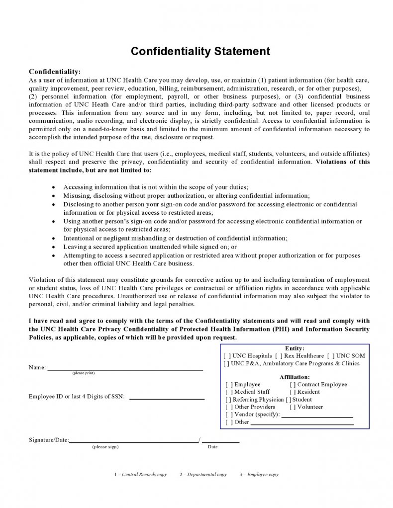 confidentiality statement template 06